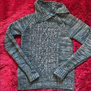 Teal button-neck shawl collar fitted knit sweater